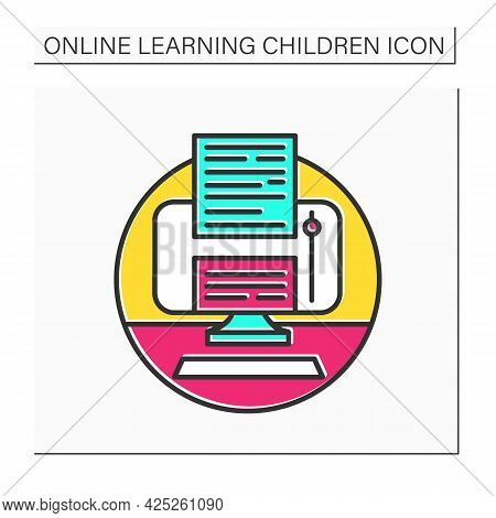 Online Books Color Icon. Web Library And Book Store Application. E-book And Online Education Concept