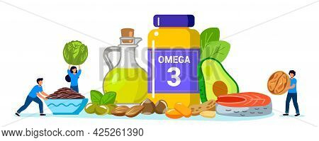 Omega 3 Fat Concept Tiny People Take Products And Vitamins With Polyunsaturated Fatty Acids Animal A
