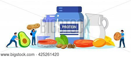 Protein Vector Illustration Flat Tiny Amino Acid Food Menu Persons Concept Protein Containing Produc