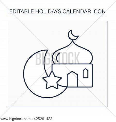 Ramadan Line Icon. Muslims Fasting Month. Muslim Refuse To Eat, Drink And Bad Habits. Holidays Calen