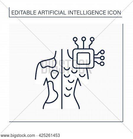 Ai In Medicine Line Icon. Microchip In Human Body.digital Technologies. Skin Cancer Diagnosis.ai Dia