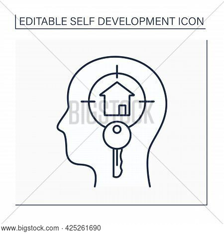 Creative Visualization Line Icon. Generating Visual Mental Images. Systematically Thinking About Apa