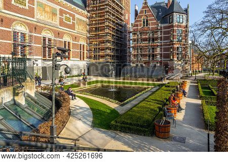Netherlands, Amsterdam - 12 March 2016: The Rijksmuseum, Dutch National Museum Dedicated To Arts And