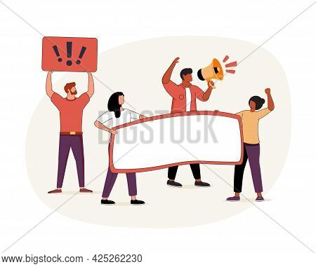 Group Action Abstract Concept Vector Illustration Set. Social Movement, Boycott And Cancel Culture,
