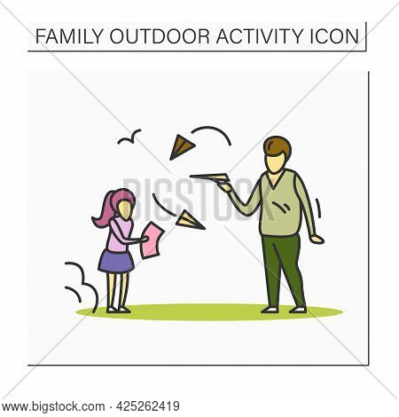 Build Paper Plane Color Icon. Father And Daughter Throwing Paper Planes Having Fun Together Outdoors