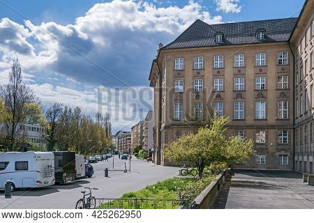 Berlin, Germany - April 25, 2021: Freiherr-vom-stein Street With The Sandstone Building Of Rathaus S