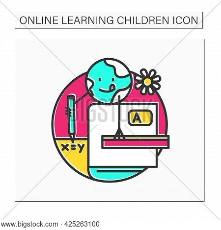 School Curriculum Color Icon. Online Education Or E-learning, Training Courses. Digital Learning, Di