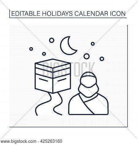 Hajj Line Icon. Muslim Pilgrimage To Mecca In Saudi Arabia. Journey To Sacred Place. Holidays Calend