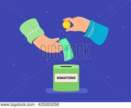 Donate Money For Saving Lives. Flat Vector Illustration Of Two Human Hands Holds Banknotes And Golde