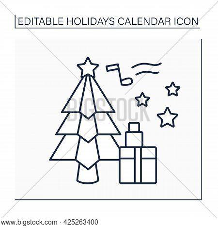 Christmas Day Line Icon.christian Holiday Celebrating Jesus Christ Birth.people Sing Carols, Get Gif