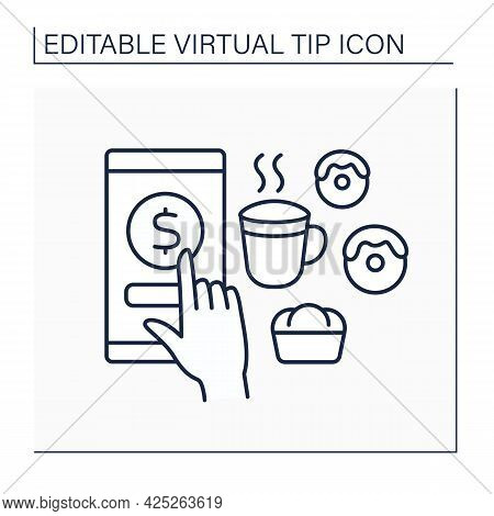 Donations Line Icon. Digital Money For Services In Cafes. Tips For Delicious Food And Drinks. Virtua