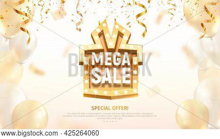 Mega Sale Gift Box Like Golden Retro Board Broadway Sign Vector Illustration. Special Offer Discount