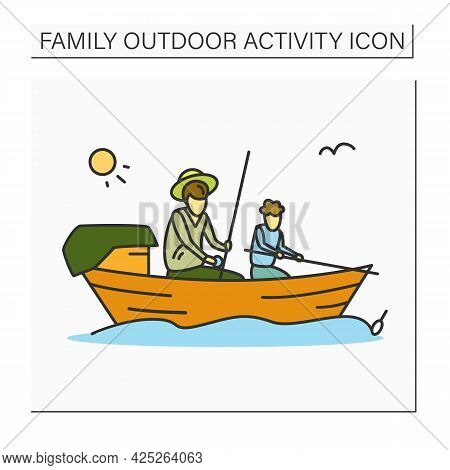 Family Fishing Color Icon.father And Son Fishing Together In Canoe.parents And Child Activity, Fathe