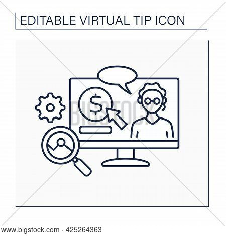 Science Line Icon. Donations In Science And Analysis. Digital Tips For Research And Development In D
