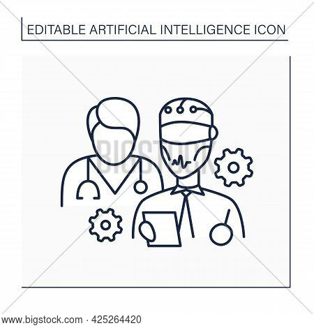 Ai In Medicine Line Icon. Robot And Doctor Improve Medical Sphere. Modern Technologies Help People.