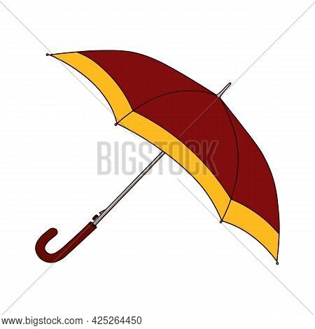 Cartoon Red Yellow Open Umbrella. Fashion Female Rain Protection Accessory For Cold Autumn Rainy Wea