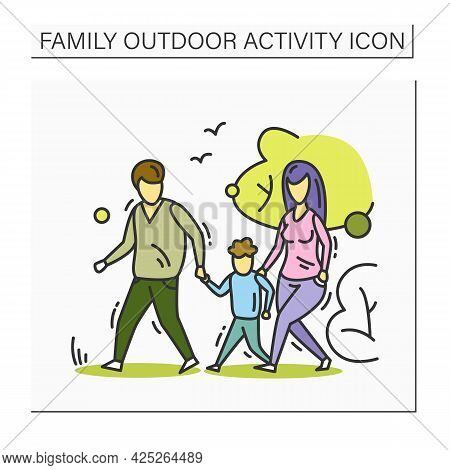 Family Walk Color Icon. Parents And Kid Walking In Park. Outdoor Family Activity Concept. Parenthood