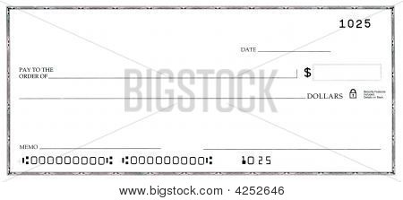 Blank Check With False Numbers