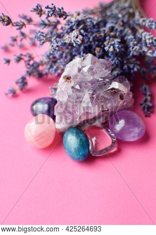 Beautiful Amethyst Crystals And Round Rose Quartz Stone With Dry Lavender Bouquet. Magic Amulets.