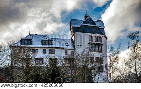 Cleeberg, Germany 2021-02-12: Castle Cleeberg In Winter. Cleeberg Is A Sightseeing Small Town In Hes