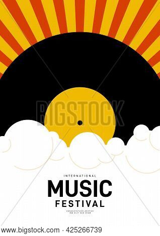 Music Poster Design Template Background With Vinyl Record And Sunburst. Design Element Template Can
