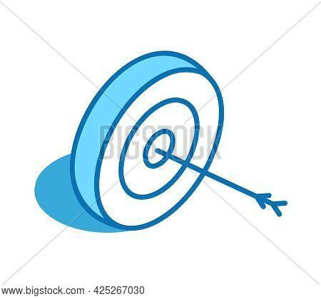 Bullseye Arrow Isometric Icon. Target, Goal 3d Line Symbol.