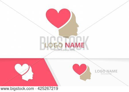 Vector Heart And Face Logo Combination. Unique Man Care Logotype Design Template.