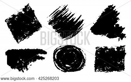 Brush Strokes Grungy Black Paint Hand Drawn Strokes Isolated On White Background. Design Element Or