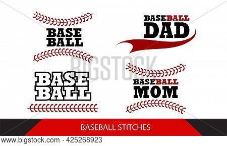 Baseball  Stitches  On A White Background , Baseball Mom Vector Design.