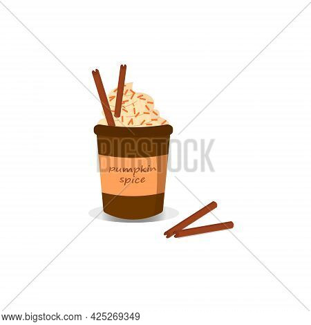 Card Template Of A Cup Of Coffee And Pumpkin On A White Background. Vector Illustration. For The Des