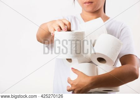 Closeup Asian Young Woman Stocking Up Toilet Paper For Home Panic In Stores Quarantine From Coronavi