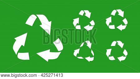 Set Of White Silhouette Triangular Recycling Symbols. Icons Environmentally Friendly World. Sign Of