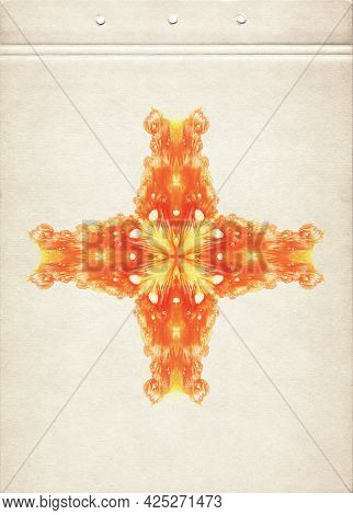 Cross. Orange Symmetric Watercolor Spots. Abstract Watercolor Painting On Old Paper. Smudged Texture
