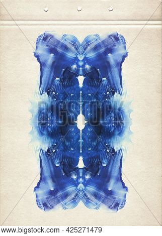 Blue Symmetric Watercolor Spots. Abstract Watercolor Painting On Old Paper. Smudged Textured Backgro