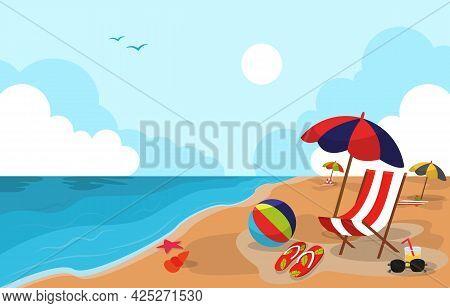 Beautiful Summer Beach Sea Nature Exotic Vacation Illustration 04
