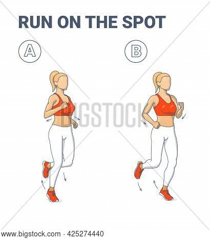 Girl Doing Jogging Exercise Fitness Home Workout Guidance Illustration. Woman Run On The Spot.