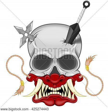Vector Design Of Ninja Skull With Japanese Hannya Mask, Kunai And Shuriken, Hannya Mask From Japanes