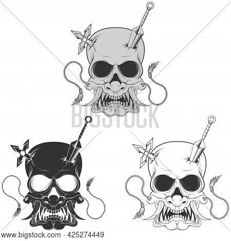 Vector Design Of Ninja Skull With Japanese Hannya, Kunai And Shuriken Mask, Grayscale, Black And Whi