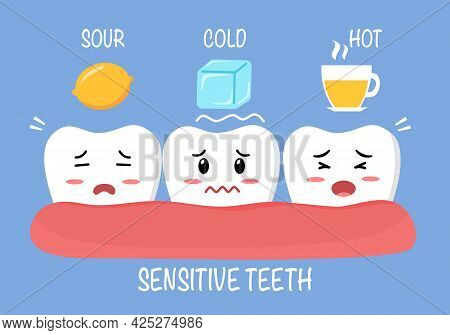 Sensitive Teeth Cartoon Character With Sour Lemon, Cold Ice And Hot Drink In Flat Design. Tooth Sens