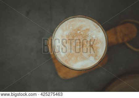 Dirty Coffee In A Glass. Milk Coffee That Has Been Popular Now. There Is A Mixture Of Milk And Coffe