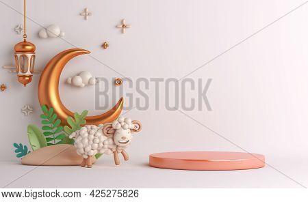 Eid Al Adha Islamic Decoration Display Podium Background With Goat Sheep Arabic Crescent Lantern, Ra
