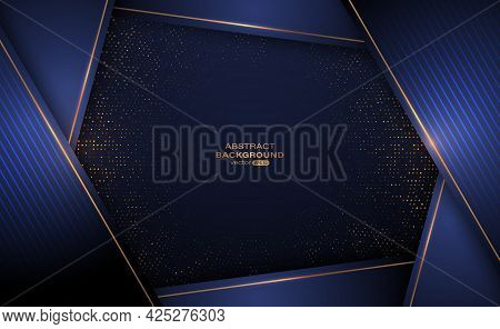 Abstract Navy Blue Luxury Background With Glitter And Golden Lines Glowing Dots Golden Combinations.