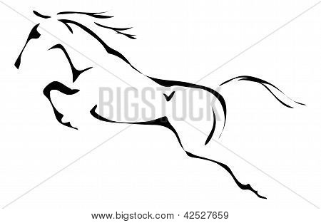 black and white vector outlines of jumping horse