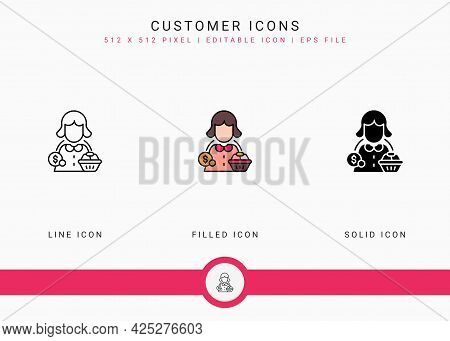 Customer Icons Set Vector Illustration With Solid Icon Line Style. Consumer Satisfaction Check Conce