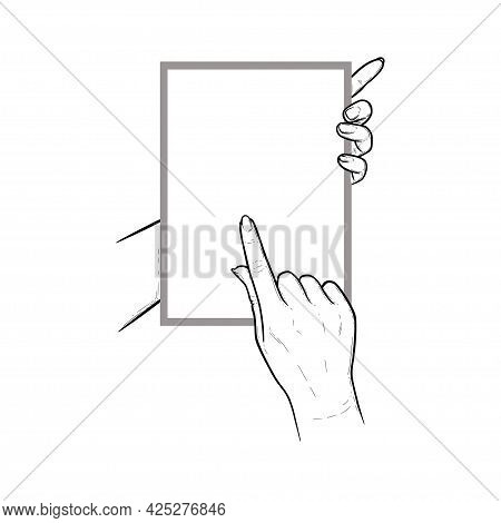 Hands Holding Tablet With Index Finger Swiping In Touchscreen. Vertical Tablet In Hands Of A Human.