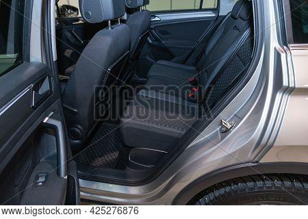 Novosibirsk, Russia - June 29, 2021:volkswagen Tiguan, Comfort Car Inside. Clean Car Interior: Black