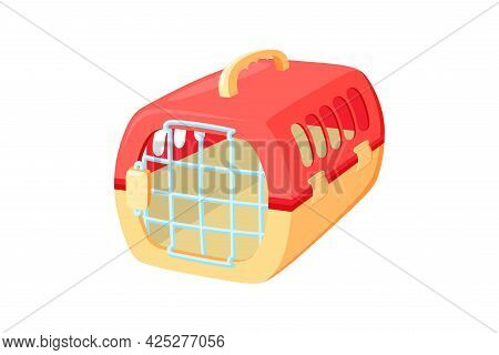 Pet Carrier With Metal Door. Red And Orange Carrier To Transport Animals In Voyages. Vector Illustra
