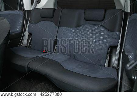 Novosibirsk, Russia - June 29, 2021: Honda Fit, Comfort Car Inside. Clean Car Interior: Black Back S
