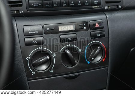 Novosibirsk, Russia - June 29, 2021: Toyota Corolla, Black  Detail With The Air Conditioning Button