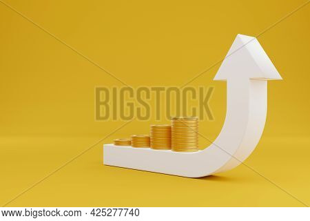 Arrow Sign Growth Moving Up And Gold Coin Stack On Yellow Background. Concept Of Save Money Increase